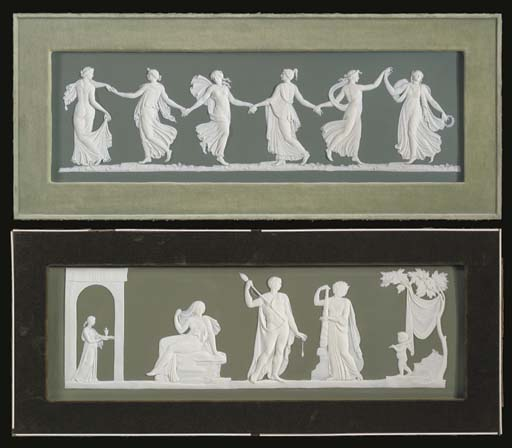 TWO WEDGWOOD GREEN AND WHITE J