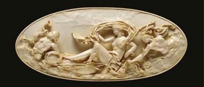 A framed German carved ivory p