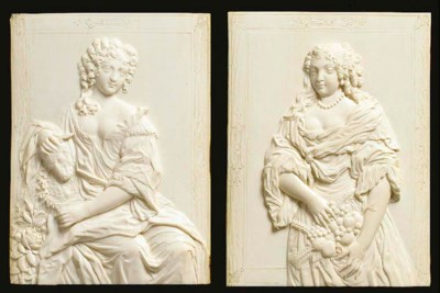 A pair of framed ivory portrai