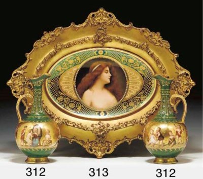 TWO VIENNA STYLE PORCELAIN GRE