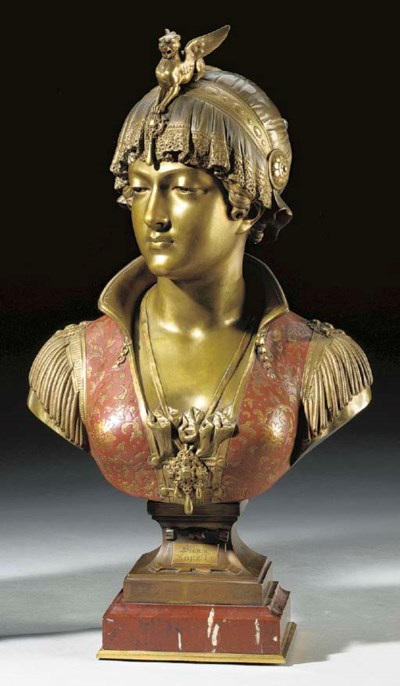 An Italian bronze and red enam