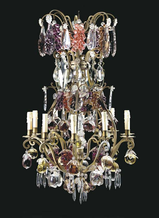 A Rococo style silver metal, clear and coloured cut glass ten-light chandelier