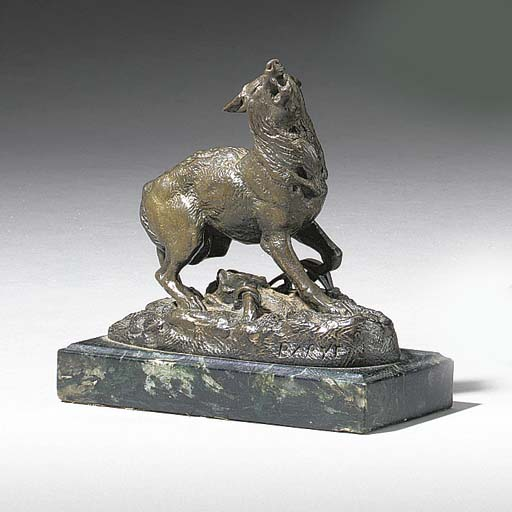 A French bronze study of a wol