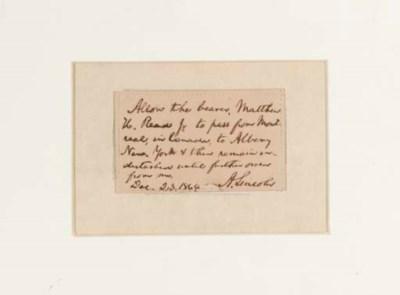 LINCOLN, Abraham. Autograph no