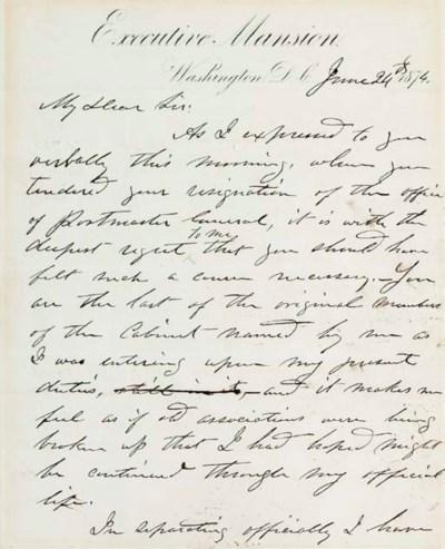 GRANT, Ulysses S. Autograph le