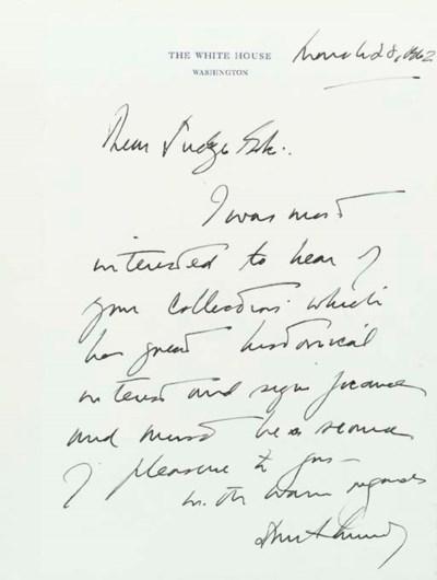 KENNEDY, John F. Autograph let