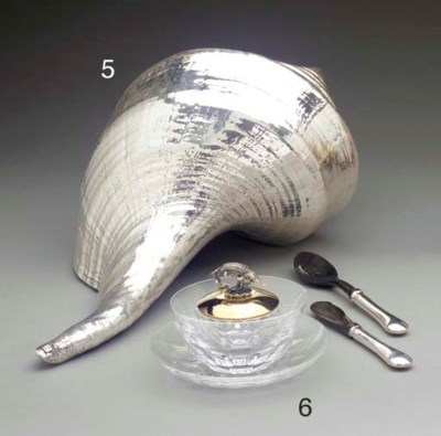 A SILVER-COATED NEPTUNE SHELL,