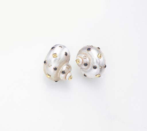 A PAIR OF SHELL, DIAMOND AND SAPPHIRE EAR CLIPS