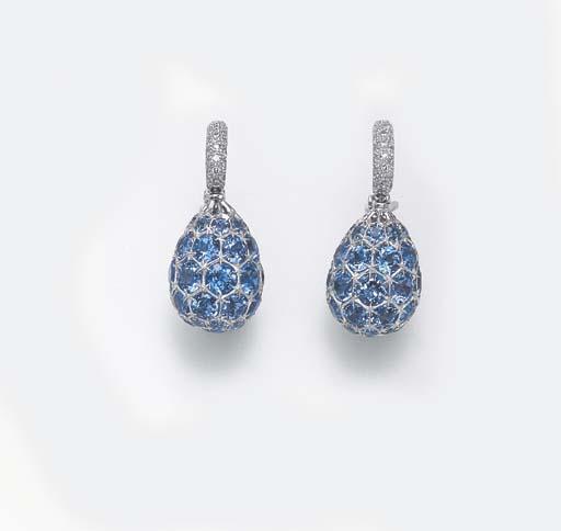 A PAIR OF BLUE TOPAZ AND DIAMOND EAR PENDANTS