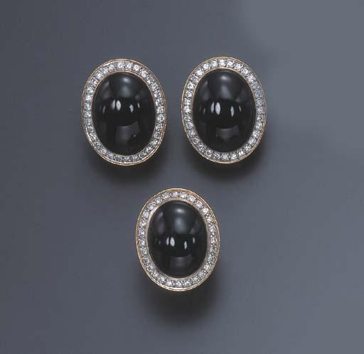 A SET OF ONYX AND DIAMOND JEWE