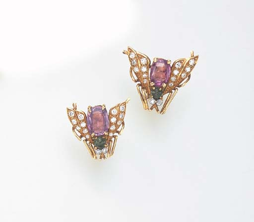 A PAIR OF MULTI-GEM INSECT EAR