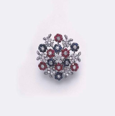 A SAPPHIRE, RUBY AND DIAMOND