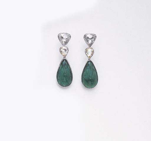 A PAIR OF EMERALD, YELLOW DIAM
