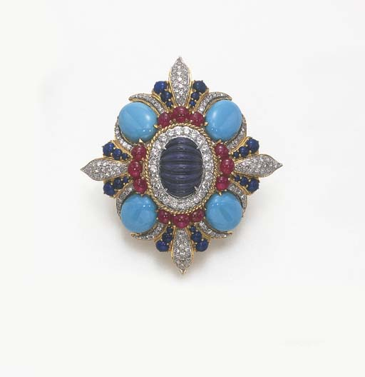 A DIAMOND, RUBY, LAPIS LAZULI