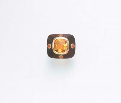 A CITRINE, FIRE OPAL AND WOOD