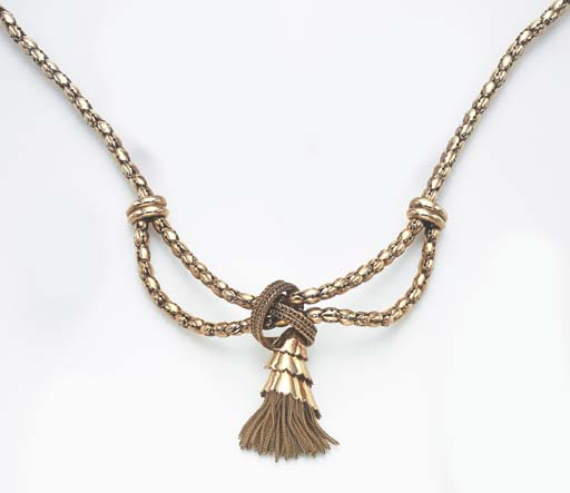A RETRO GOLD NECKLACE, BY MAUBOUSSIN