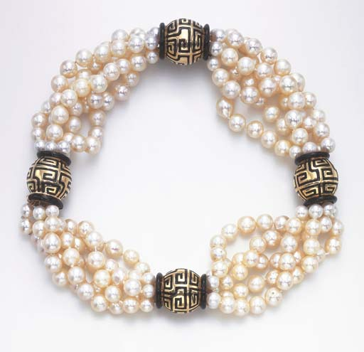 A FIVE-STRAND CULTURED PEARL AND ENAMEL NECKLACE