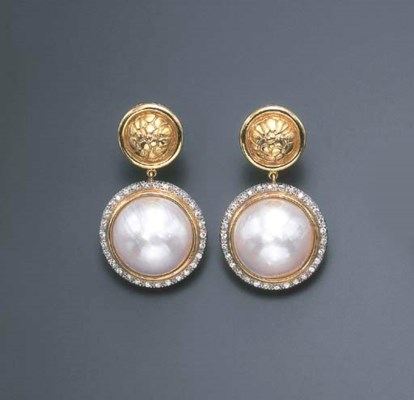 A PAIR OF MABE PEARL, DIAMOND