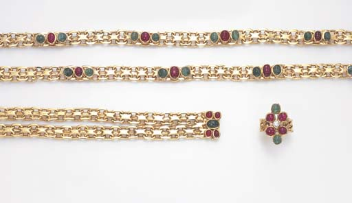 A SUITE OF EMERALD, RUBY AND DIAMOND JEWELRY, BY BULGARI