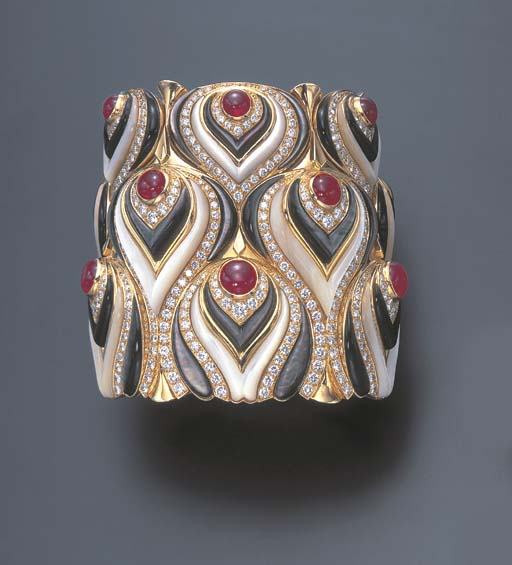 A DIAMOND, RUBY AND MOTHER-OF-PEARL CUFF BRACELET, BY MARINA B.