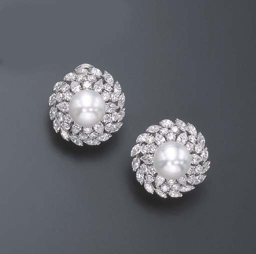 A PAIR OF DIAMOND AND CULTURED PEARL EAR CLIPS