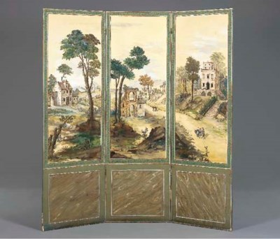 A FRENCH PAINTED CANVAS THREE-