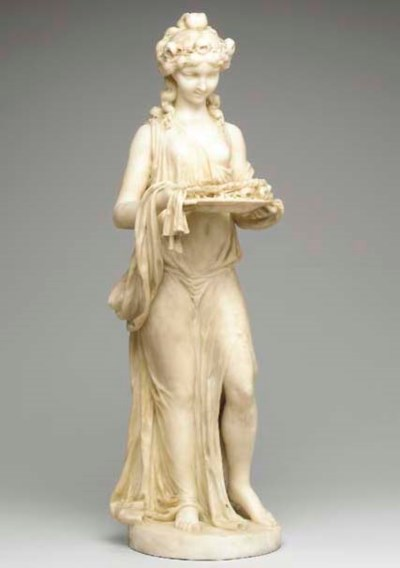 A WHITE MARBLE FIGURE OF A BAC