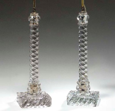 A PAIR OF GLASS LAMPS,