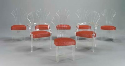 A SET OF EIGHT LUCITE DINING-C