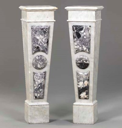 A PAIR OF MOTTLED GRAY MARBLE