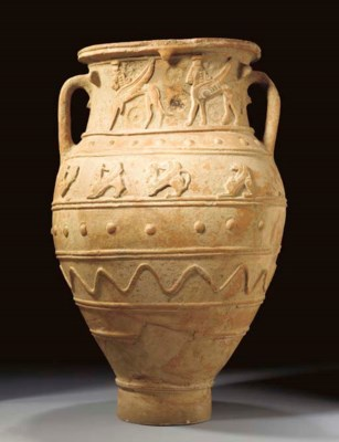 A GREEK POTTERY RELIEF PITHOS