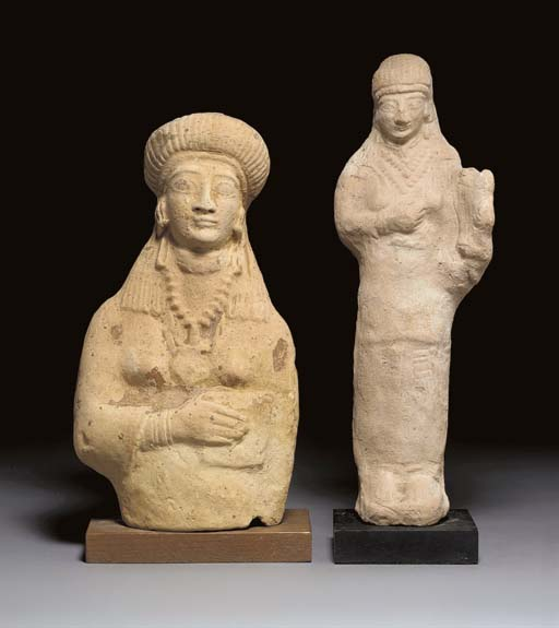 TWO CYPRIOT TERRACOTTA FIGURES