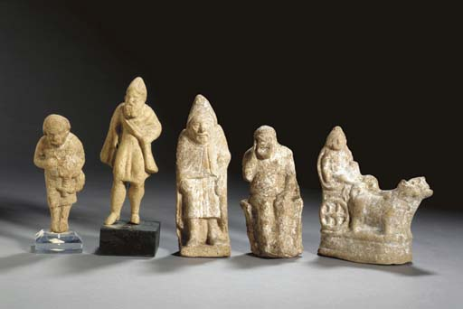 FIVE GREEK TERRACOTTA FIGURES