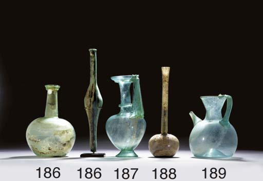 A ROMAN GLASS TALL-NECKED BOTT