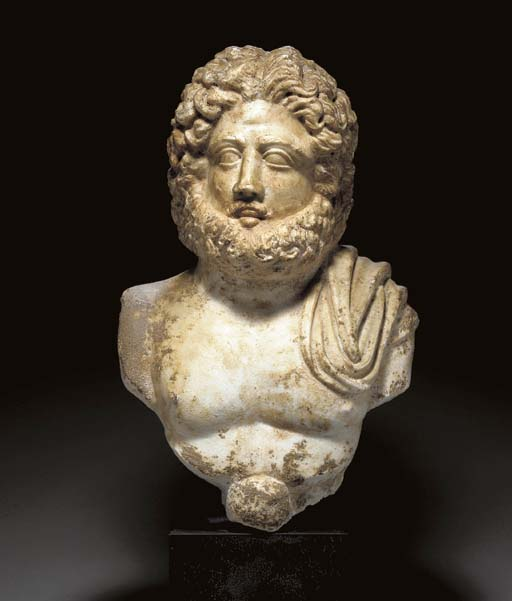A ROMAN MARBLE BUST OF JUPITER