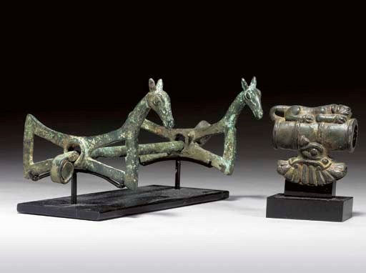 TWO LURISTAN BRONZE OBJECTS