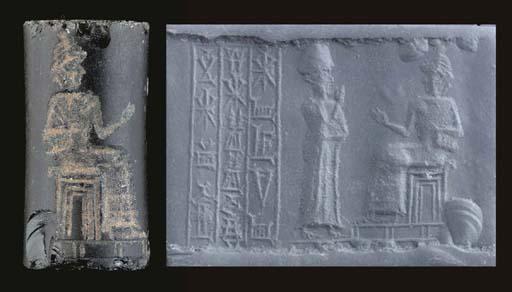 AN OLD BABYLONIAN OBSIDIAN CYL
