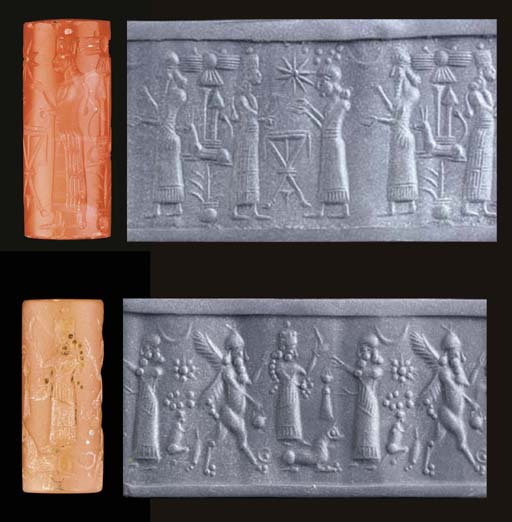 TWO NEO-ASSYRIAN CYLINDER SEAL