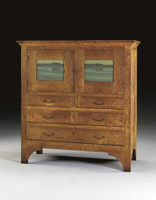 AN IMPORTANT OAK CHEST OF DRAW