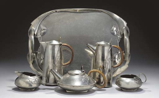 A FIVE-PIECE PEWTER AND CANE T