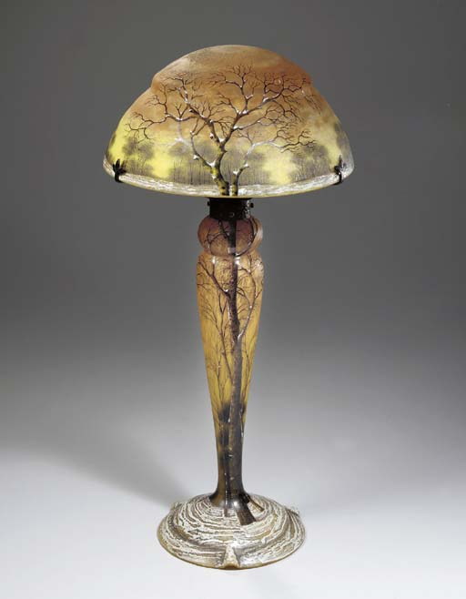 AN ETCHED AND ENAMELED GLASS TABLE LAMP