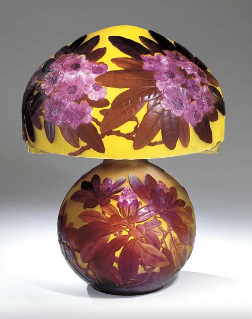A RED 'RHODODENDRON' MOLD-BLOWN, DOUBLE OVERLAID AND ETCHED GLASS TABLE LAMP