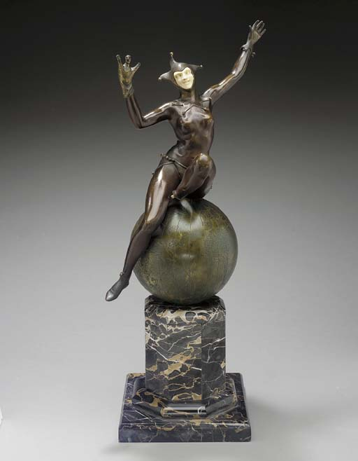 A PATINATED BRONZE, PARCEL-GIL