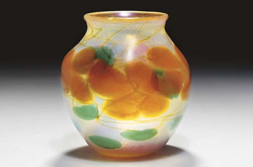 A PAPERWEIGHT FAVRILE GLASS VASE