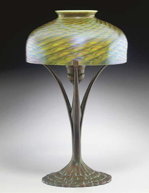 A FAVRILE GLASS AND BRONZE DES
