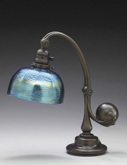 A FAVRILE GLASS AND BRONZE COUNTER BALANCE DESK LAMP