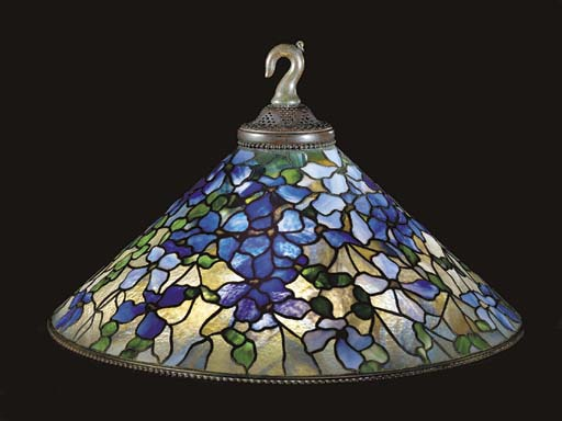 A 'CLEMATIS' LEADED GLASS AND