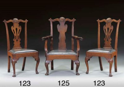 A CHIPPENDALE CARVED WALNUT AR