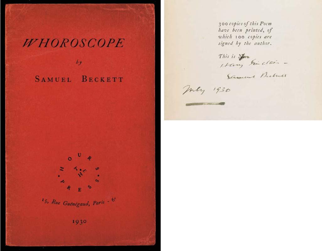 BECKETT, Samuel (1906-1989). W