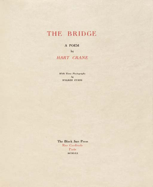 CRANE, Hart. The Bridge. A Poe
